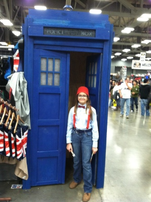 Our daughter gets her photo taken inside the TARDIS